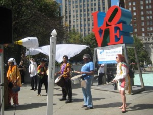 Love Park with Drummers and Dove