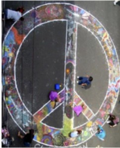 Chalk peace sign close up